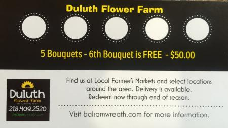 Farmer's Market Bouquet Gift Card - 6 Bouquets for $50.00