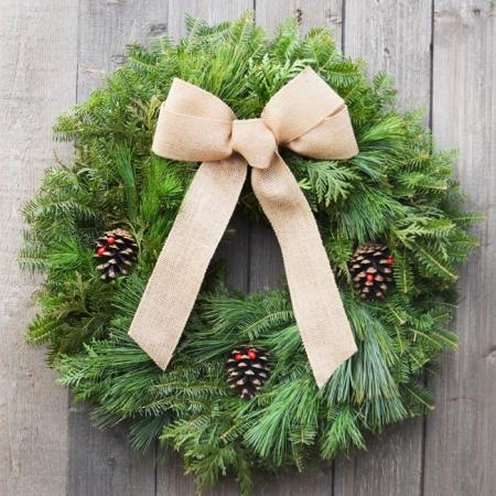 Burlap -  Mixed Green Wreath