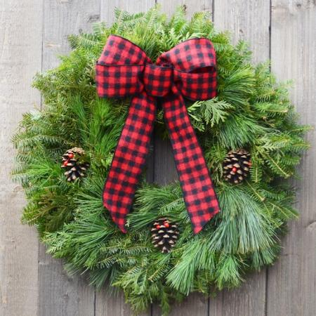 Buffalo Plaid - Mixed Green Wreath