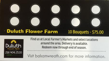 Farmer's Market Bouquet Gift Card - 10 Bouquets for $75.00